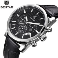 BENYAR 2016 Mens Business Watches Top Brand Luxury Leather Waterproof Quartz Wrist Watch Men Chronograph Sport