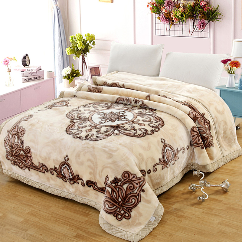 on sales 2kg-6kg Raschel blanket 2 PLY double layers blankets throws soft bed cover embossed BLKT velvet blankets in China new
