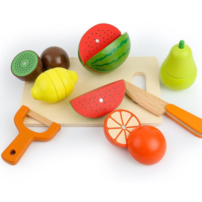 17 pièces en bois classique jeu simulation cuisine série jouets coupe fruits et légumes jouets éducation précoce cadeaux-in Jouets-cuisine from Jeux et loisirs    3