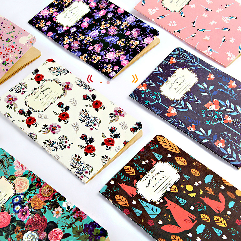 BPNew Pattern Restore Ancient Ways Kraft Small Notebook Flower Colour Notepad Small Gift Wholesale SGBJB3 fashionable small red flower pattern 6cm width tie for men