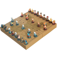BSTFAMLY Chinese Chess Wooden Box 32Pcs/Set Old Game of Go Xiang Qi International Checkers Folding Toy Gifts No Magnetic LC17