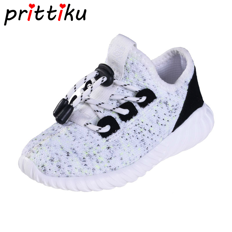 Autumn 2018 Toddler Boy Girl Knitted Sneakers Little Kid Slip On Elastic Trainers Big Children Casual School Sport Running Shoes