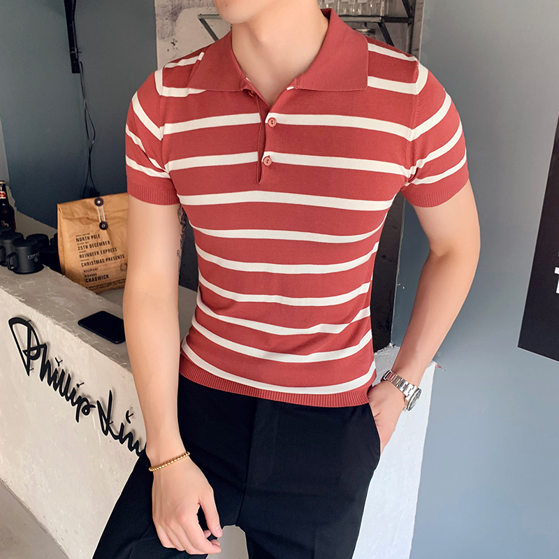 2019 Summer England Light Luxury Knit Short Sleeve   Polo   Shirt Korean Business Casual Fashion Gentleman Slim Striped Shirt