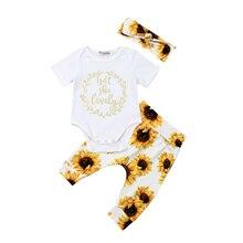 Комплект одежды из 3 предметов для новорожденных девочек, комбинезон с цветным узором, штаны, повязка на голову, комплект одежды, одежда для маленьких девочек, одежда для маленьких девочек