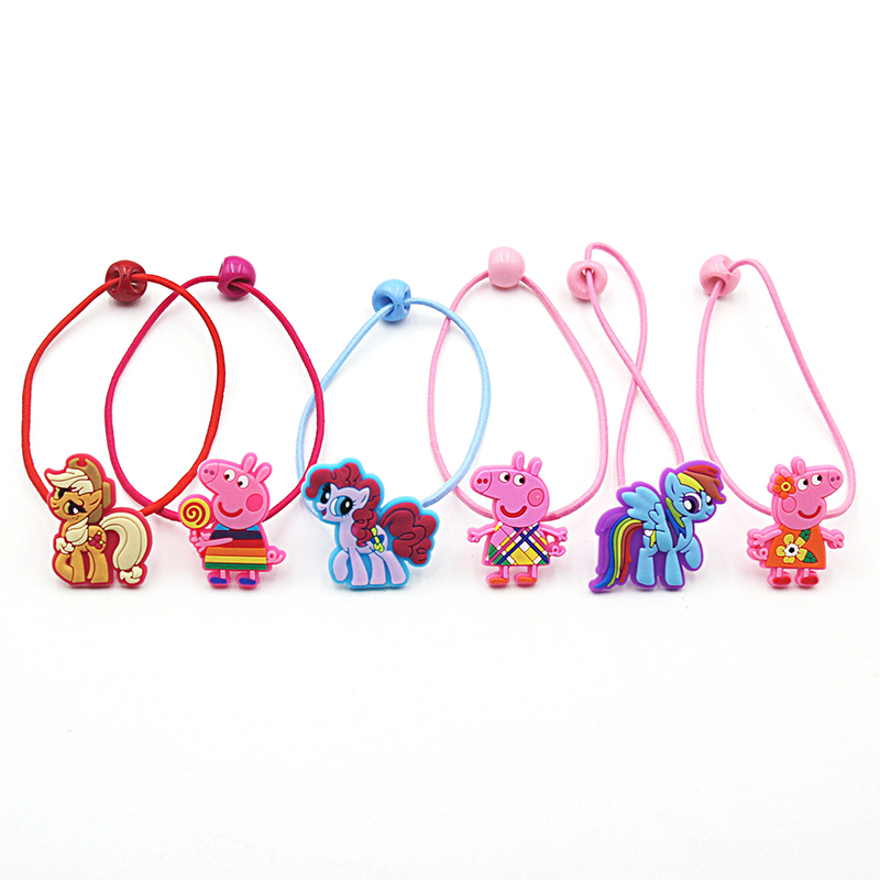2 PCS New Cartoon Pig Horse Girls Hair Accessories Princess Headwear Kids Elastic Hair Bands Baby Headdress Children Hair Ropes hi ce new arrival mechanical horse kawaii animal ride on horse lion rode on horse kids toy for children adult new year gifts
