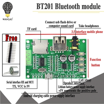 BT201 Dual Mode 5.0 Bluetooth Lossless Audio Power Amplifier Board Module Tf Card U Disk Ble Spp Serial Port Transparent Trans - discount item  5% OFF Active Components