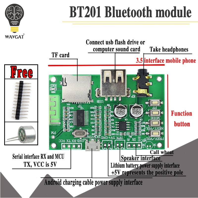 BT201 Dual Mode 5.0 <font><b>Bluetooth</b></font> Lossless Audio Power <font><b>Amplifier</b></font> Board Module Tf Card U Disk Ble Spp Serial Port Transparent Trans image