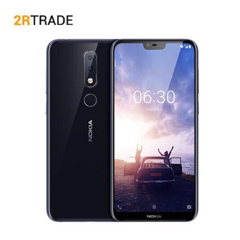 Nokia X6/6.1 plus téléphone Mobile 6 + 64G Snapdragon 636 Octa Core 5.8 pouces 19: 9FHD 16.0MP + 5.0MP caméra identification d'empreintes digitales Smartphone