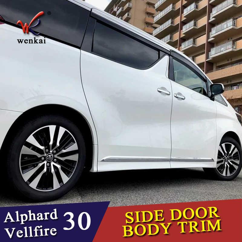อุปกรณ์ตกแต่งรถยนต์สำหรับ Toyota ALPHARD VELLFIRE 30 Series 2016-2019 Body ประตูด้านข้างกระโปรง Accent Molding สติกเกอร์ Trim