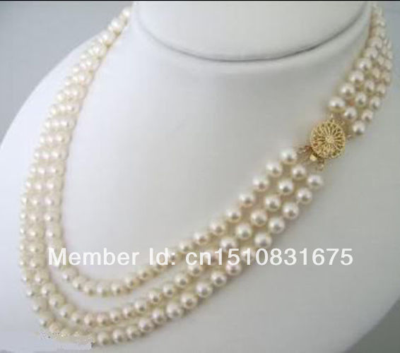 """3 Rows 7-8mm White Akoya Cultured Pearls Necklace 17-21""""xu80"""