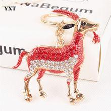 Chinese Zodiac Goat Sheep Red Lovely Crystal Charm Pendant Purse Bag Car Key Ring Keychain Birthday Gift New Accessories(China)