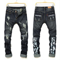 Мужской Отверстие джинсы тенденция индивидуальный характер Письмо печатные джинсы Европейский Американский Разорвал брюки прямые Тонкие брюки джинсовые