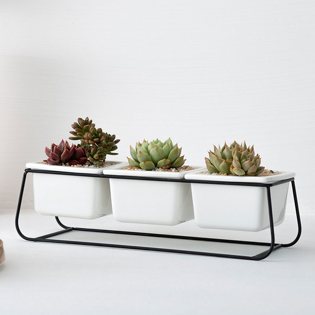 Nordic Simple Wrought Iron Flower Pot Set Three Pots One Shelf