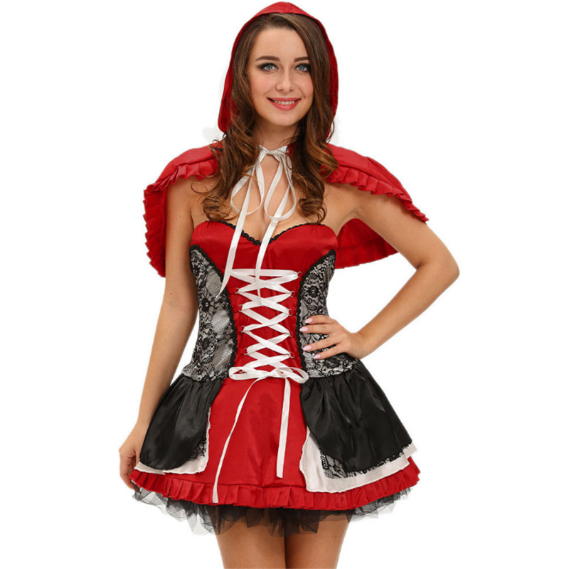 new luxurious Halloween Tube top back zip + cape shawl Little Red Riding Hood  DS Christmas Party costume sexy Red game uniforms