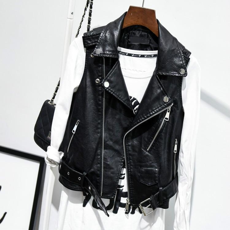 Big Size 4xl Fashion Ladies   Leather   Jackets Sleeveless Black Vest Coat 2018 New Spring Autumn Pu Motorcycle Woman Casual Jacket