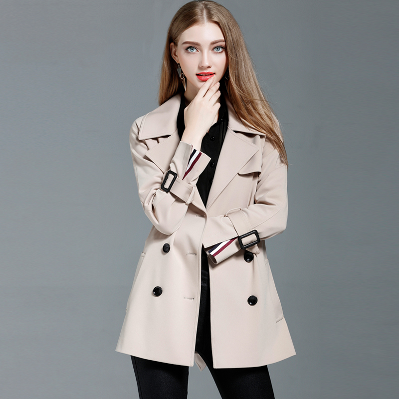 2019 New Women's   Trench   Coat Fashion Slim Double Breasted Short Wind-breaker Female Outwear   Trench   With Belt for woman