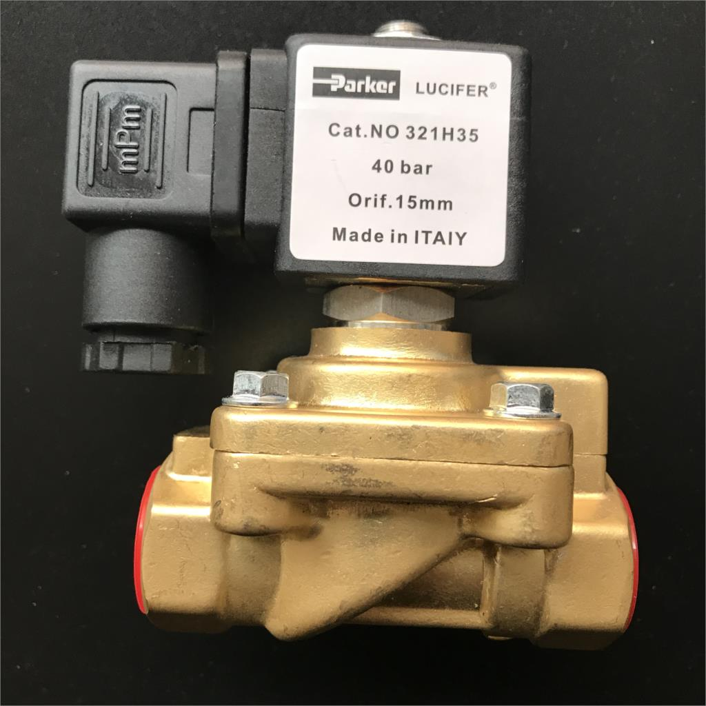 Original genuine Parker pneumatic solenoid valve blower high pressure solenoid valve 321H35 40bar AC220V hydraulic solenoid valve coil connector ac220v inner hole diameter 19mm high 58mm