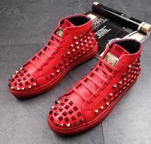 High Quality Fashion Men High Top British Style Rrivet Shoes Men Causal Luxury Shoes Red Gold Black Bottom rubber Shoes for Male