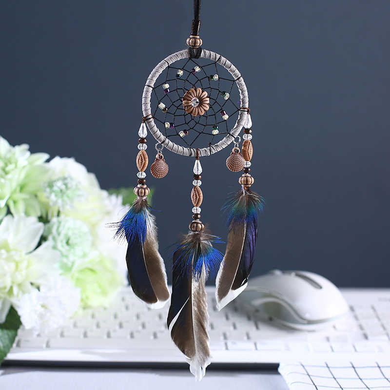 2018 New Mini Wind Chime Pendant Creative Shell Dream Catcher Feather Accessories Bedroom Living Room Home Decoration Ornaments