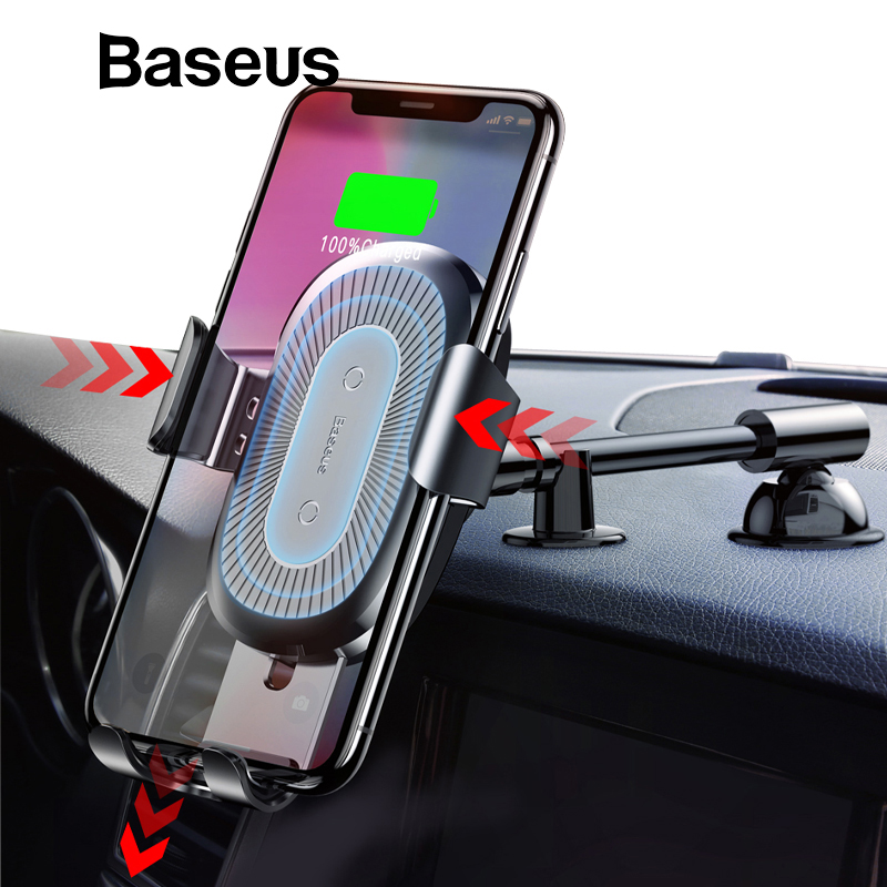 Baseus Qi Wireless Charger Car Phone Holder for iPhone XS