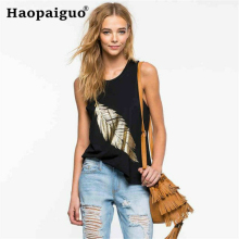 Fashion Women Tank Tops Feather Print O-Neck Sleeveless Female Black Casual Femme Ladies Tee 2019 Summer