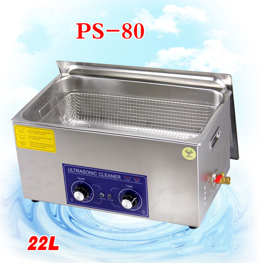 1PC New globe heater&timer ultrasonic cleaner 22L PS-80 480w AC110/220v the king of the circuit board ,metal parts with basket derui auto parts ultrasonic cleaner with timer and heated dr mh30 3l