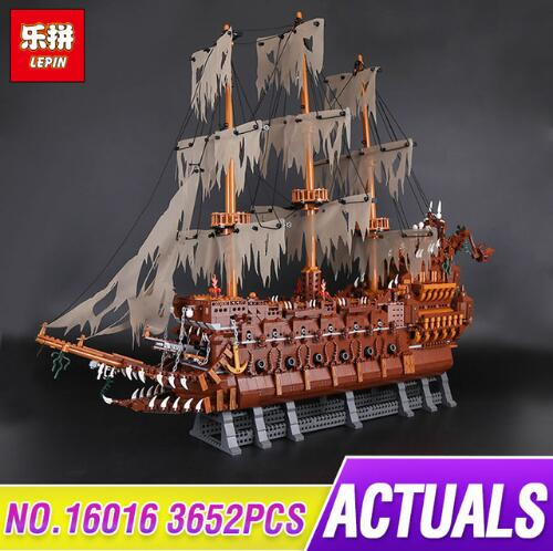 Lepin 16016 3652Pcs Movie Series Flying the Dutch Blocks Bricks Toys For Children Compatible legoing pirates caribbean kazi 608pcs pirates armada flagship building blocks brinquedos caribbean warship sets the black pearl compatible with bricks