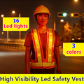 Fluorescent Orange led safety Jacket  with led waistcoat led flashing safety vest reflective vest safety vest led lights