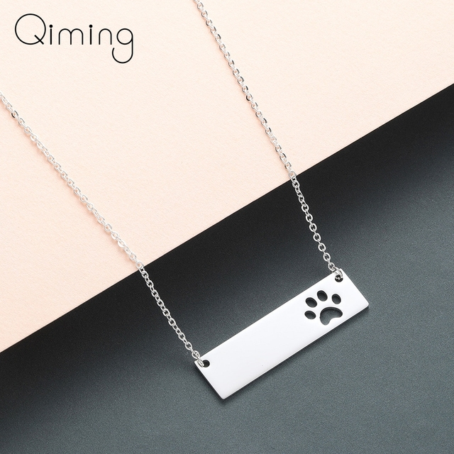 Cat Dog Paw Necklace Pendant Geometric Bar Stainless Steel Jewelry Pet Lover Gift Women Necklace Cute Baby Gift 1