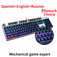 Metoo Original gaming keyboard Russian keyboard Mechanical Keyboard 87 keys 104 keys usb Wired keyboards blue/red/black switch