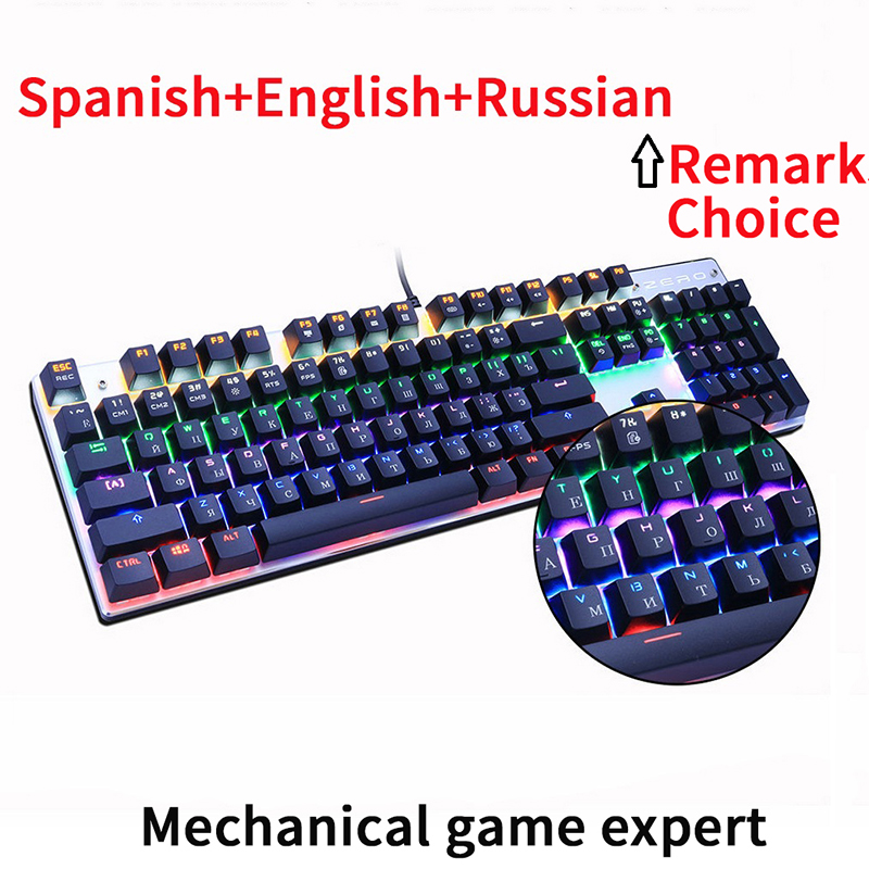 Metoo Original gaming keyboard Russian Mechanical Keyboard 87 keys 104 usb Wired keyboards blue/red/black switch