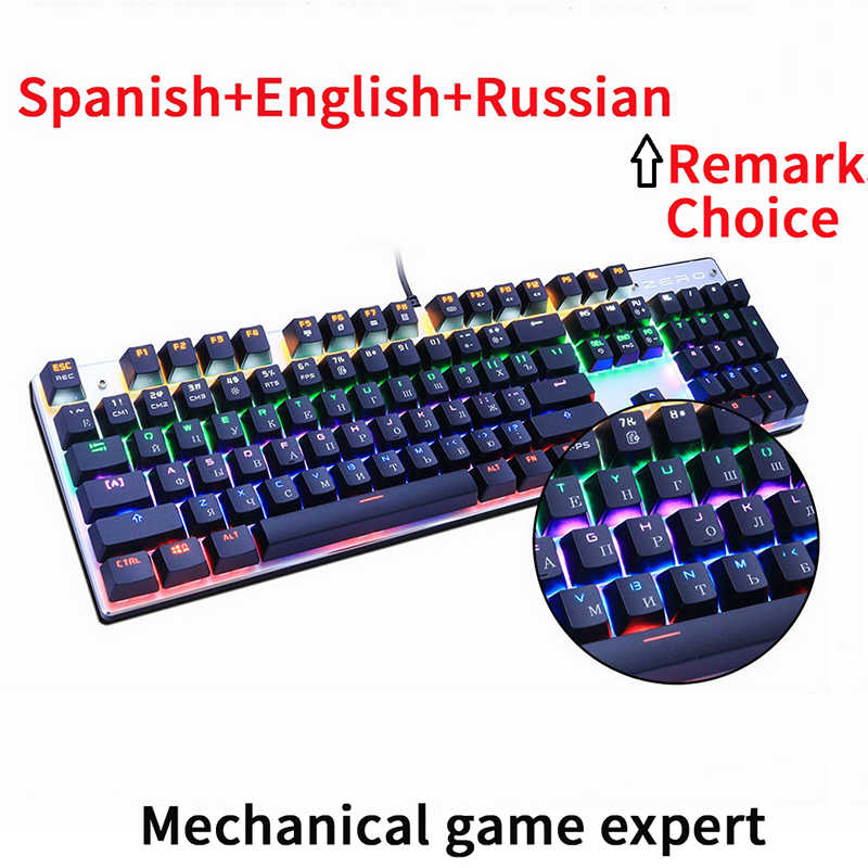54018bac44a Metoo Original gaming keyboard Russian keyboard Mechanical Keyboard 87 keys  104 keys usb Wired keyboards blue