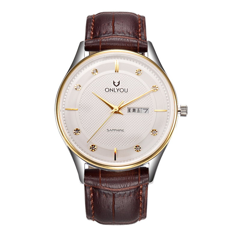 Men s Watches thin Fashion Leisure Double Calendar with chinese week shows Men s Watches Leather