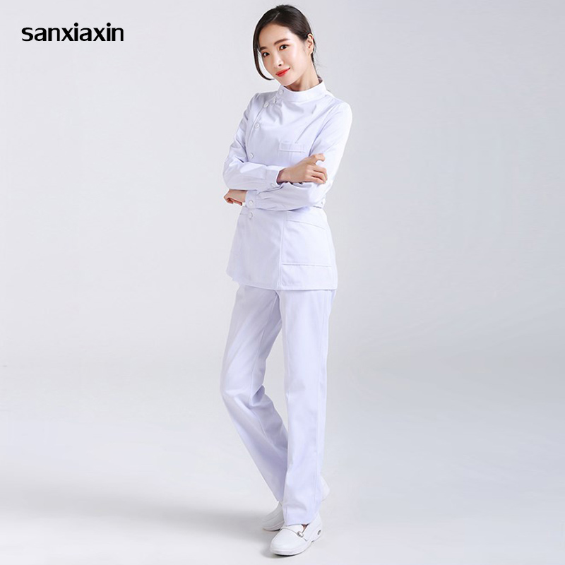 Spa Uniform Hospital Medical Scrub Clothes Set Dental Clinic And Beauty Salon Nurse Uniform Fashion Slim Fit Surgical White Coat