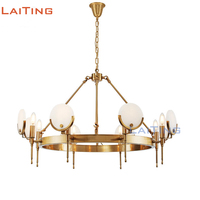 2017 NEW Copper Frame Art Light Fixtures Marble Cover Hanging Lamp Post Modern Gold Chandelier