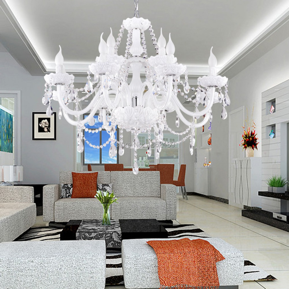 Glass Chandeliers For Dining Room: Hot Sale Classic White Crystal Glass Chandelier 12 Light