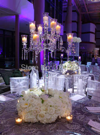 9 arms  90cm 35.43inch Tall Wedding Candelabra Centerpieces Center Table Candlesticks Parties Decor K9 Crystal Candle Holder