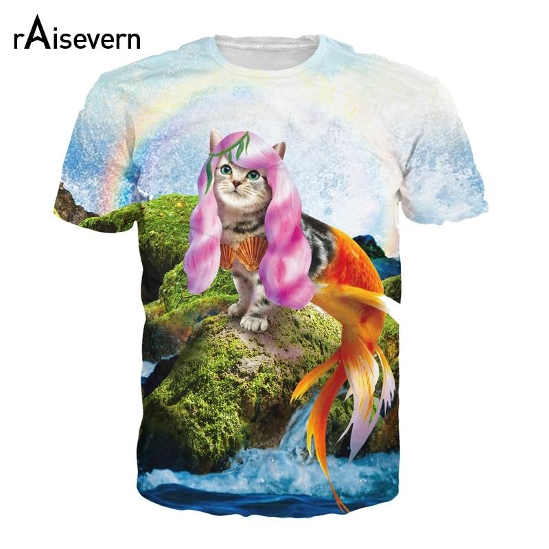 c3633983b 2018 New Funny Cat Mermaid Print Tee Shirt 3D T Shirt Kitten Princess  Printed Men Women