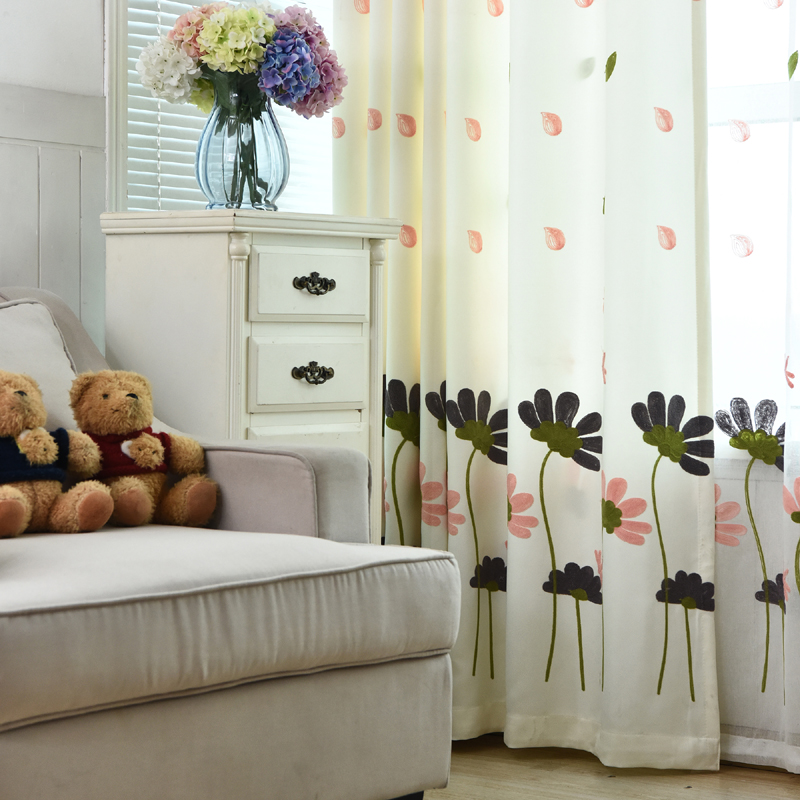Korean Window Curtains Living Room Embroidered Flower Curtains Transparent  Tulle Drapery Bedroom Custom Living Room Curtain 20 In Curtains From Home  ...