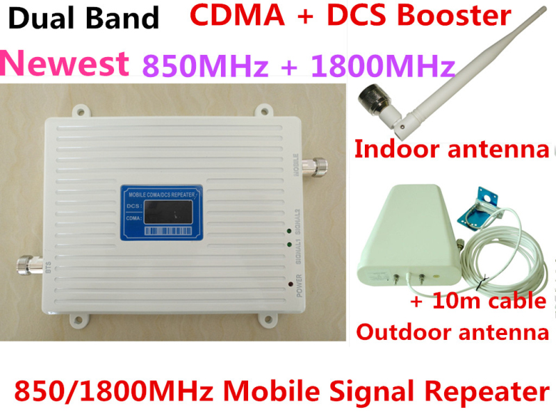 Dual Band DCS 1800MHz CDMA 850Mhz Mobile Phone Signal Booster Cell Phone 2g 3g wifi 4G LTE Signal Repeater Amplifier +Antenna