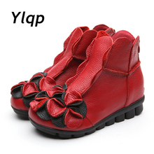 2017 Winter New fashion women genuine leather shoes height increasing shoes flats ankle boots national style short boots