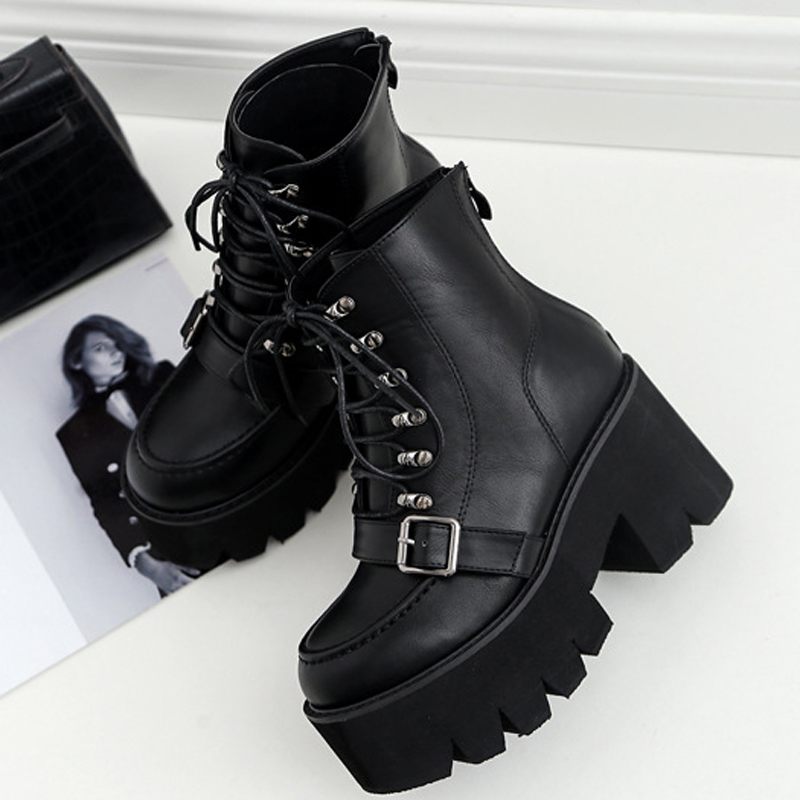 Boussac Lace Up Platform Women's Boots Buckle Strap High Heel Martin Boots Women Black Goth Boots Ankle Boots For Women SWE0279