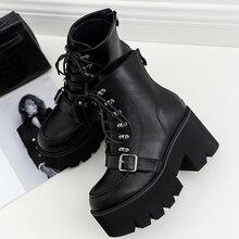 Boussac/женские ботинки на платформе со шнуровкой; черные ботинки в готическом стиле; женские ботильоны с пряжкой и ремешком; Ботинки martin на высоком каблуке; женская обувь; SWE0279