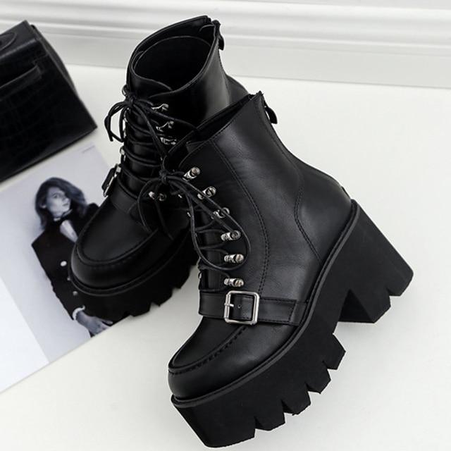 Boussac Dantel up Çapraz-kravat Motosiklet Boots Toka Askı Yüksek Topuk Martin Çizmeler Kadın Ayak Bileği Platformu Çizmeler Kadın SWE0279