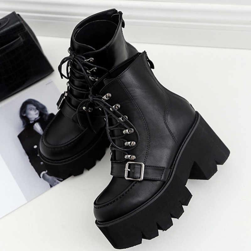 Boussac à lacets plate-forme bottes femmes noir Goth bottes bottines pour femmes boucle sangle talon haut Martin bottes femmes SWE0279