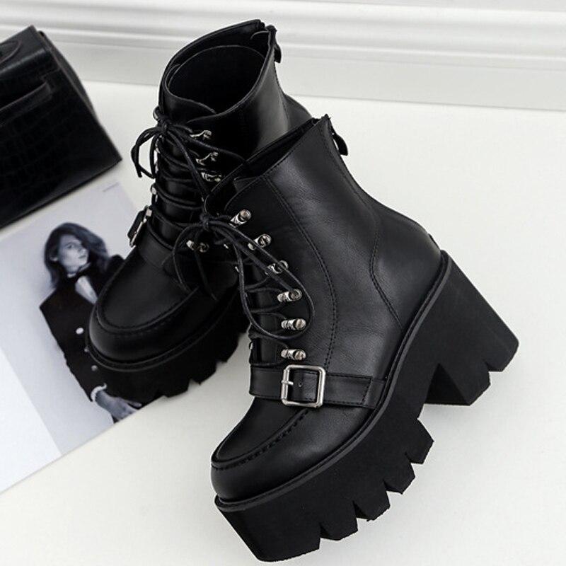 Boussac/ботинки на платформе со шнуровкой женские черные ботинки в готическом стиле женские ботильоны с пряжкой на ремешке; Ботинки Martin на высоком каблуке Женская обувь; SWE0279|Полусапожки|   | АлиЭкспресс