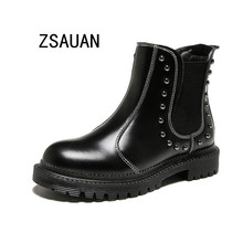 ZSAUAN Fashion Rivet Women Chelsea Boots Round Toe Split Leather Sewing Female Short Ankle Black Red 2019 Platform
