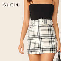SHEIN Ladies White Buckle Belted Plaid Skirt Korean Style Women Preppy High Waist Skirt Stretchy Spring Summer Mini Skirt