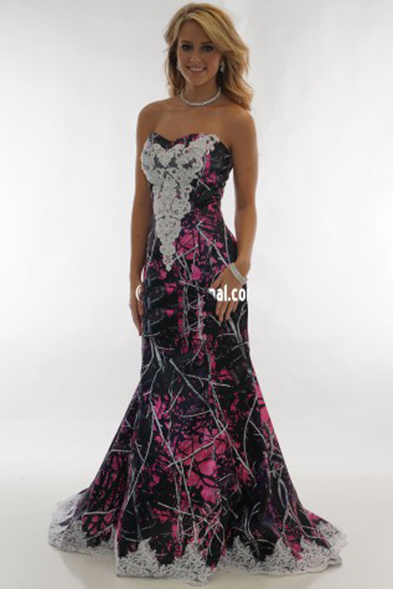 Camouflage formal dresses all dress for Red camo wedding dresses