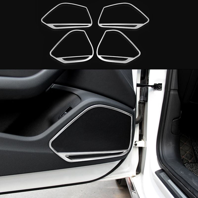 US $35 98 |4pcs Stainless Door Bottom Speaker Decorator Frame Cover Trim  For Audi A5 2018 & A4 B9 2017 2018-in Interior Mouldings from Automobiles &